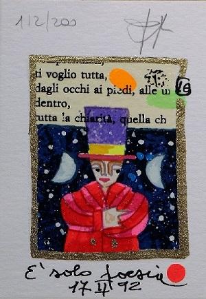 """""""E' solo poesia"""" serigrafia polimaterica con interventi in glitter cm.10x7"""