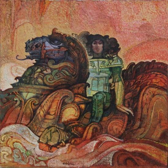"""""""Edoras"""" dipinto su tela cm. 40x40  1997"""