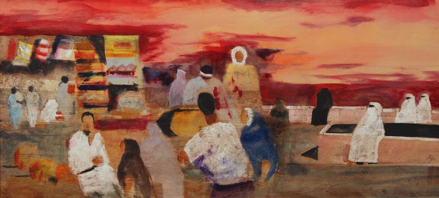 """Figure berbere"" olio su tavola cm. 60x130"