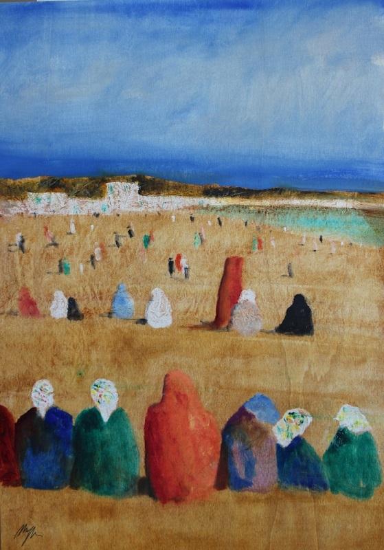 """Figure in Egitto""  su tavola cm. 70x50"