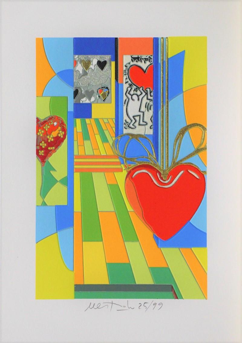 """""""Funny Hearts"""" serigrafia con intervento in glitter e foglia oro cm. 35x25"""