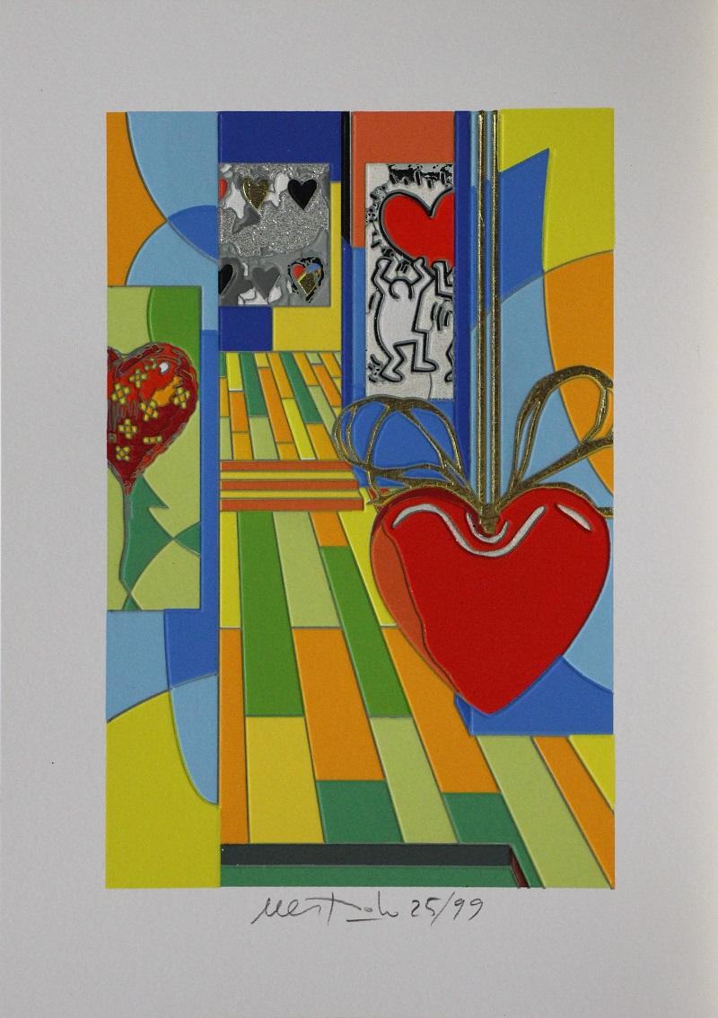"""""""Funny Hearts"""" serigrafia con intervento in glitter carborundum foglia oro e floccaggio cm. 35x25"""