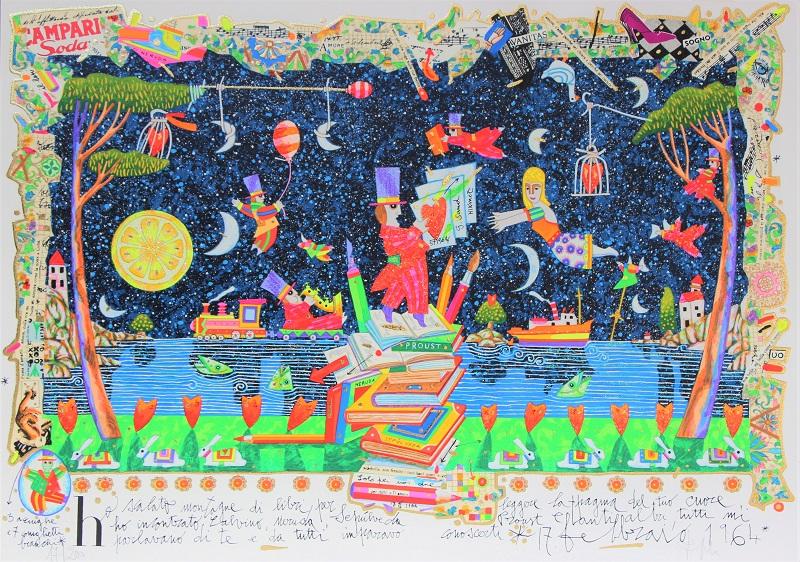 """""""Ho scalato montagne di libri..."""" serigrafia polimaterica con interventi in glitter cm. 50x70"""