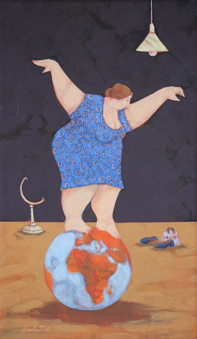 """""""I viaggi impossibili della signora Maria""""  dipinto su tela cm. 30x50"""