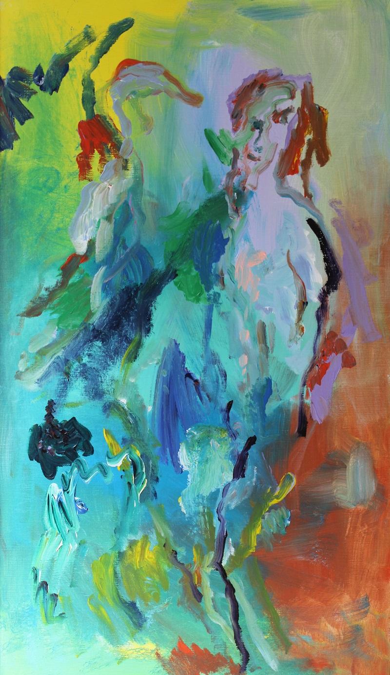 """""""Donna con cigno"""" dipinto su tela cm. 70x120  2001"""