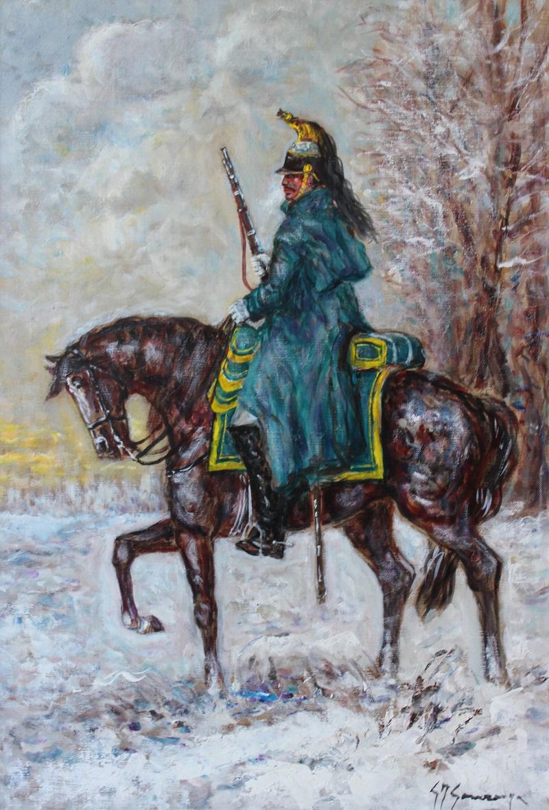 """""""Dragone in resta sulla neve"""" dipinto su tela cm. 40x60 2000"""