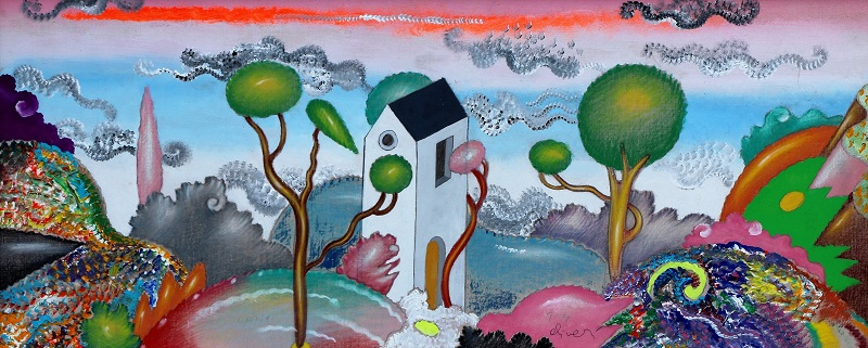 """Paesaggio"" dipinto su tela cm. 60x25 1995"