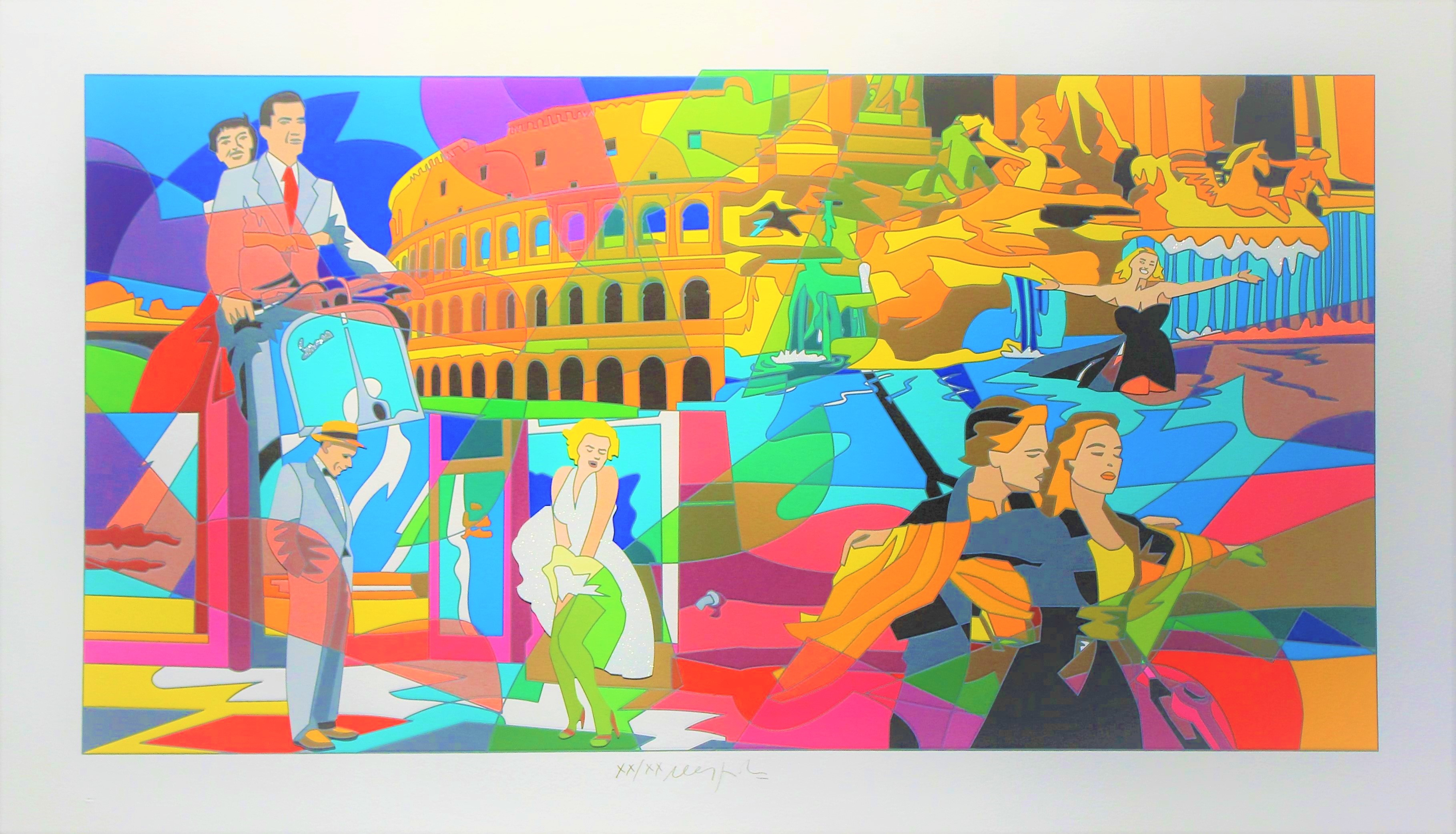 """Movie time"" serigrafia e collage cm. 70x120"