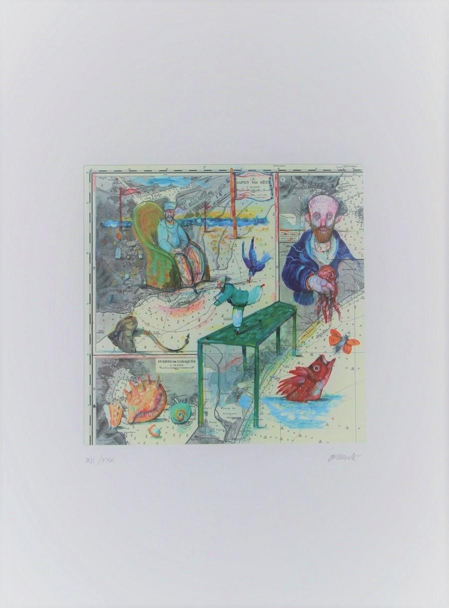 """""""Lo sa lui dove dorme il polpo"""" litografia cm. 70x50"""