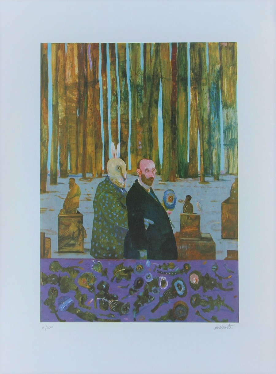 """""""Due nel bosco"""" litografia cm. 80x60"""