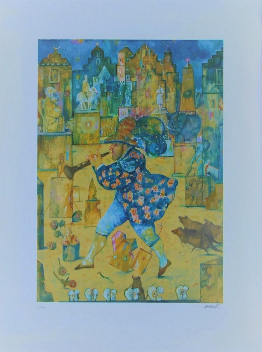 """""""Il pifferaio magico"""" litografia cm. 80x60"""