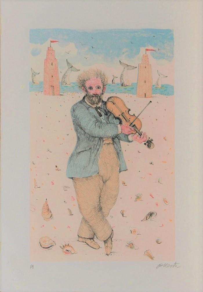 """""""Un violinista"""" litografia cm. 50x35"""
