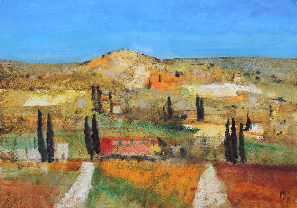 """Paesaggio toscano"" olio su tavola cm. 47x67"