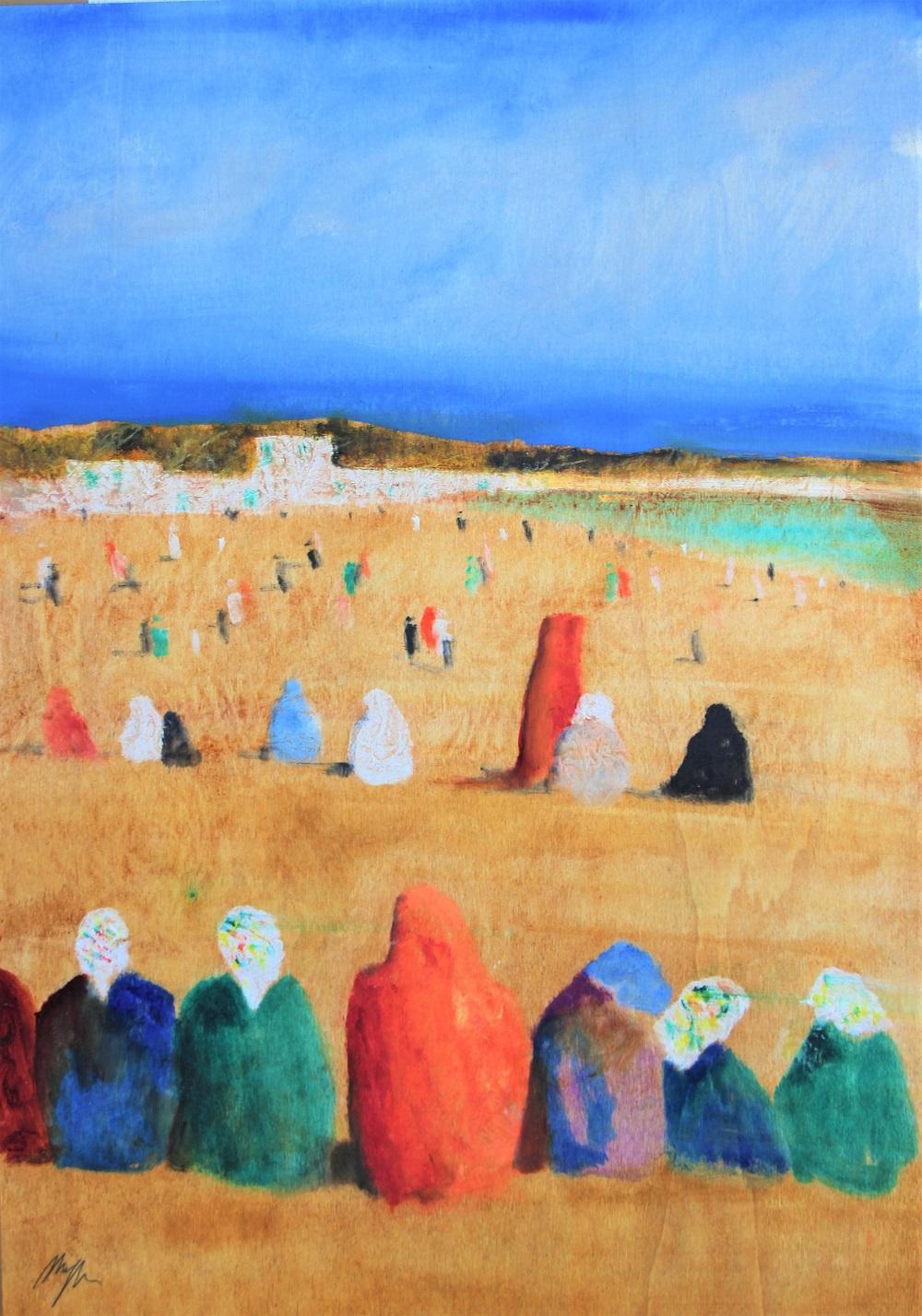 """""""Figure in Egitto"""" olio su tavola cm. 70x50"""