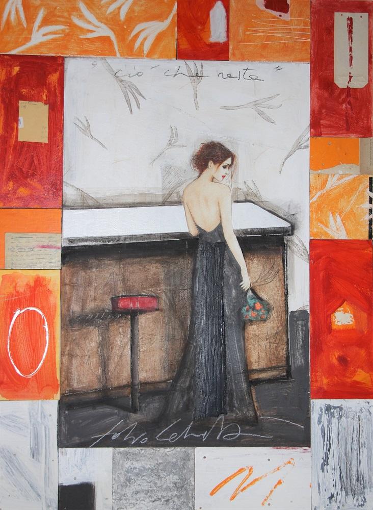 """""""Ciò che resta"""" dipinto su tavola e collage cm. 120x88"""