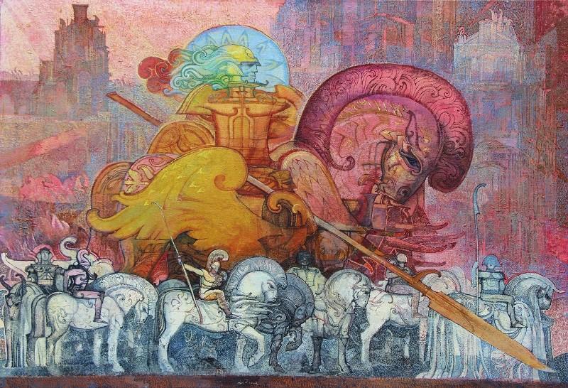 """I Cavalieri del Mito""  olio su tela cm. 70x100"