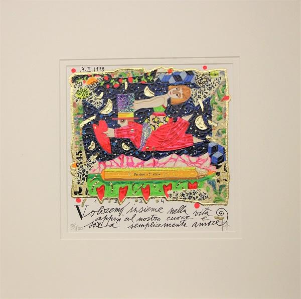 """""""Voleremo insieme nella vita..."""" serigrafia materica con glitter cm. 20x20"""
