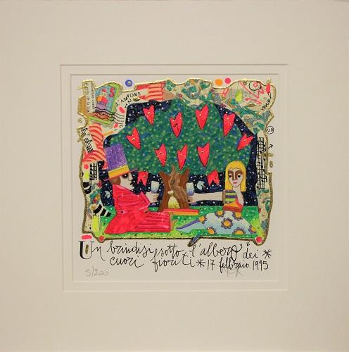 """""""Un brindisi sotto l'albero dei cuori fioriti"""" serigrafia materica e glitter cm. 20x20"""