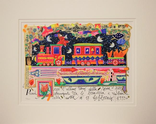 """""""Prenderò l'ultimo treno ..."""" serigrafia materica cm. 25x35"""