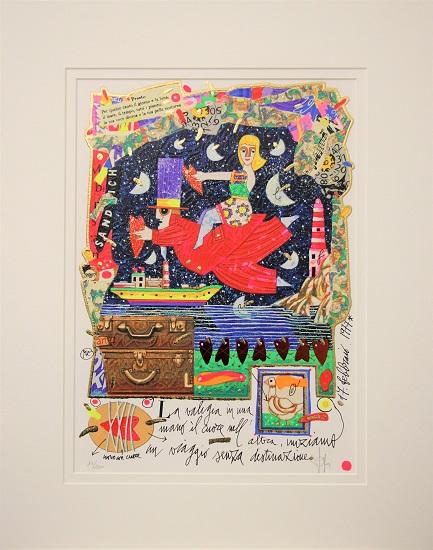 """""""La valigia in una mano il cuore nell'altra..."""" serigrafia materica cm. 25x35"""