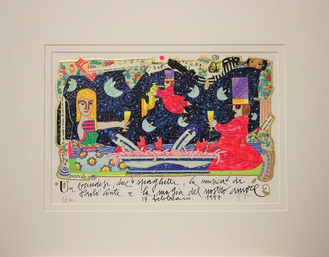 """""""Un brindisi, due spaghetti, la musica..."""" serigrafia materica cm. 20x30"""
