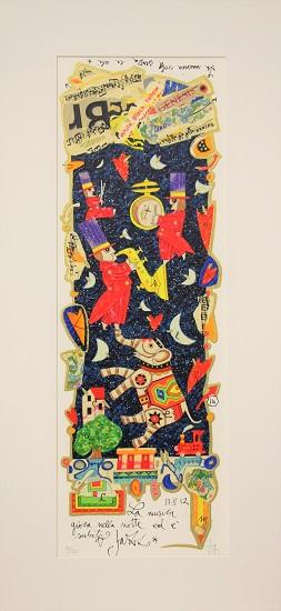 """""""La musica gioca nella notte..."""" serigrafia materica con glitter cm. 17x50"""