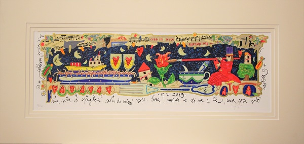 """Una sera di spaghetti,calici di vino..."""" serigrafia materica con glitter cm. 17x50"""