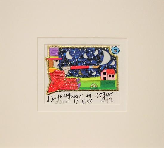 """""""Dipingendo un sogno"""" serigrafia materica con glitter cm. 8x10"""