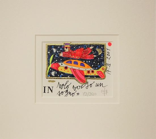 """""""In volo verso un sogno"""" serigrafia materica con glitter cm. 8x10"""