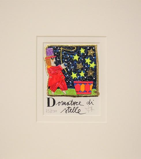 """""""Domatore di stelle"""" serigrafia materica con glitter cm. 8x10"""