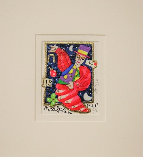 """""""Porta fortuna"""" serigrafia materica con glitter cm. 8x10"""