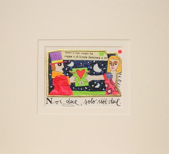 """""""Noi due solo noi due"""" serigrafia materica con glitter cm. 8x10"""