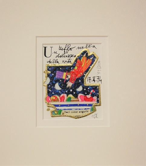 """""""Un tuffo nella dolcezza della vita"""" serigrafia materica con glitter cm. 8x10"""