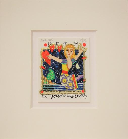 """""""Ti porto il mio cuore"""" serigrafia materica con glitter cm. 8x10cm. 8x10"""