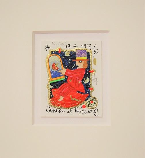 """""""Cavalco il tuo cuore"""" serigrafia materica con glitter cm. 8x10"""