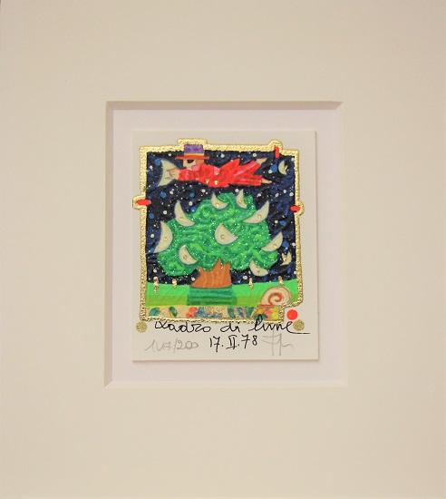 """""""Ladro di lune"""" serigrafia materica con glitter cm. 8x10"""