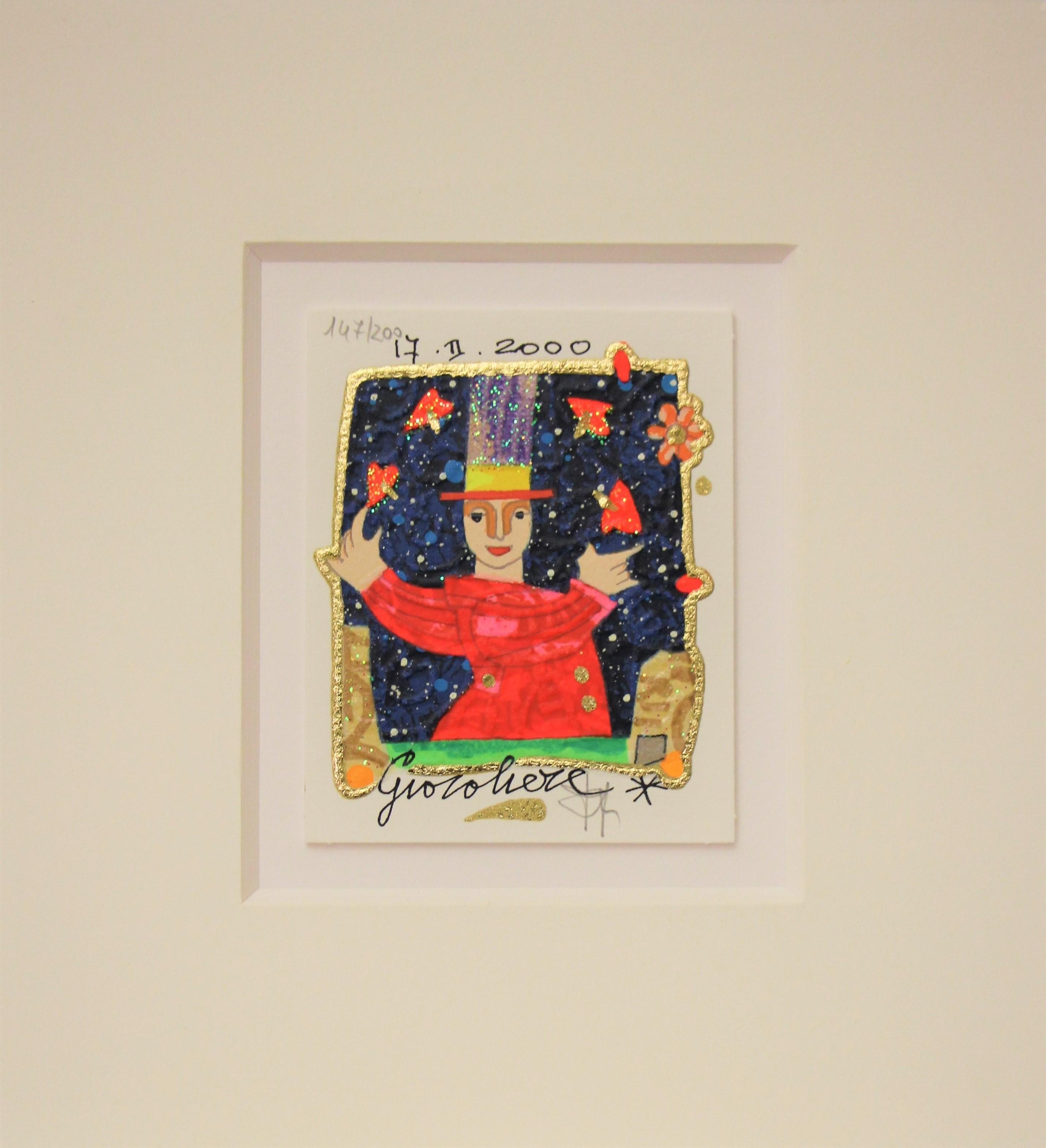 """""""Giocoliere"""" serigrafia materica con glitter cm. 8x10"""