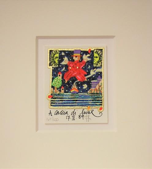 """""""A caccia di lune"""" serigrafia materica con glitter cm. 8x10"""