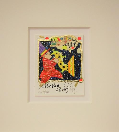 """""""Musica"""" serigrafia materica con glitter cm. 8x10"""