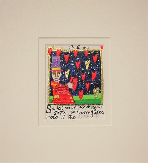 """""""Se dal cielo piovessero cuori"""" serigrafia materica con glitter cm.8x10"""