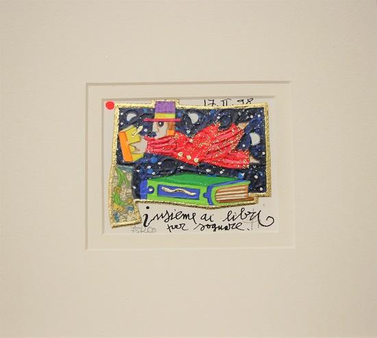 """""""Insieme ai libri per sognare"""" serigrafia materica con glitter cm. 8x10"""