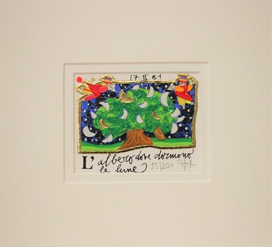 """""""L'albero dove dormano le lune"""" serigrafia materica cm. 8x10"""