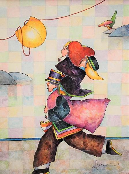 """""""Con tutto il cuore"""" dipinto su cartone cm. 30x40"""