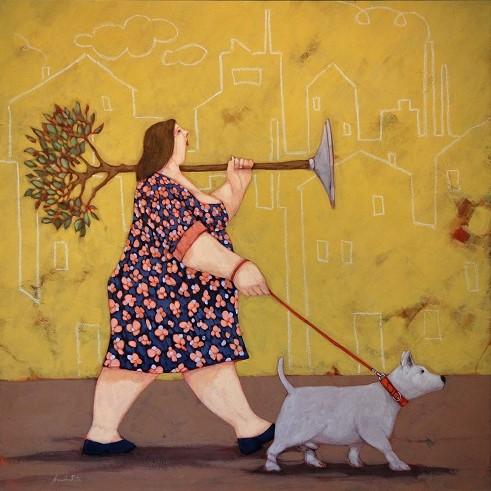 """""""Il cane della via Gluck"""" dipinto su tela cm. 70x70"""