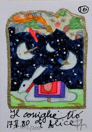 """""""Il coniglietto di Alice"""" serigrafia polimaterica con interventi in glitter cm. 10x7"""
