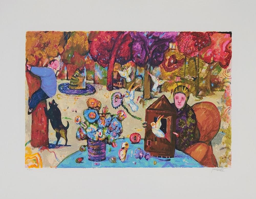 """""""Il guardiano del giardino"""" serigrafia polimaterica cm. 70x90"""