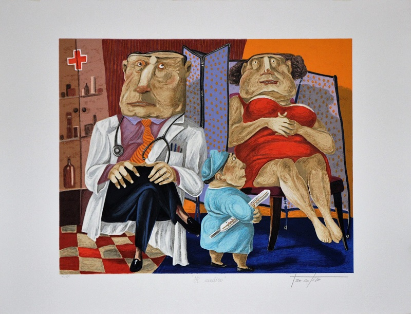 """Il medico"" serigrafia polimaterica cm. 54x70"