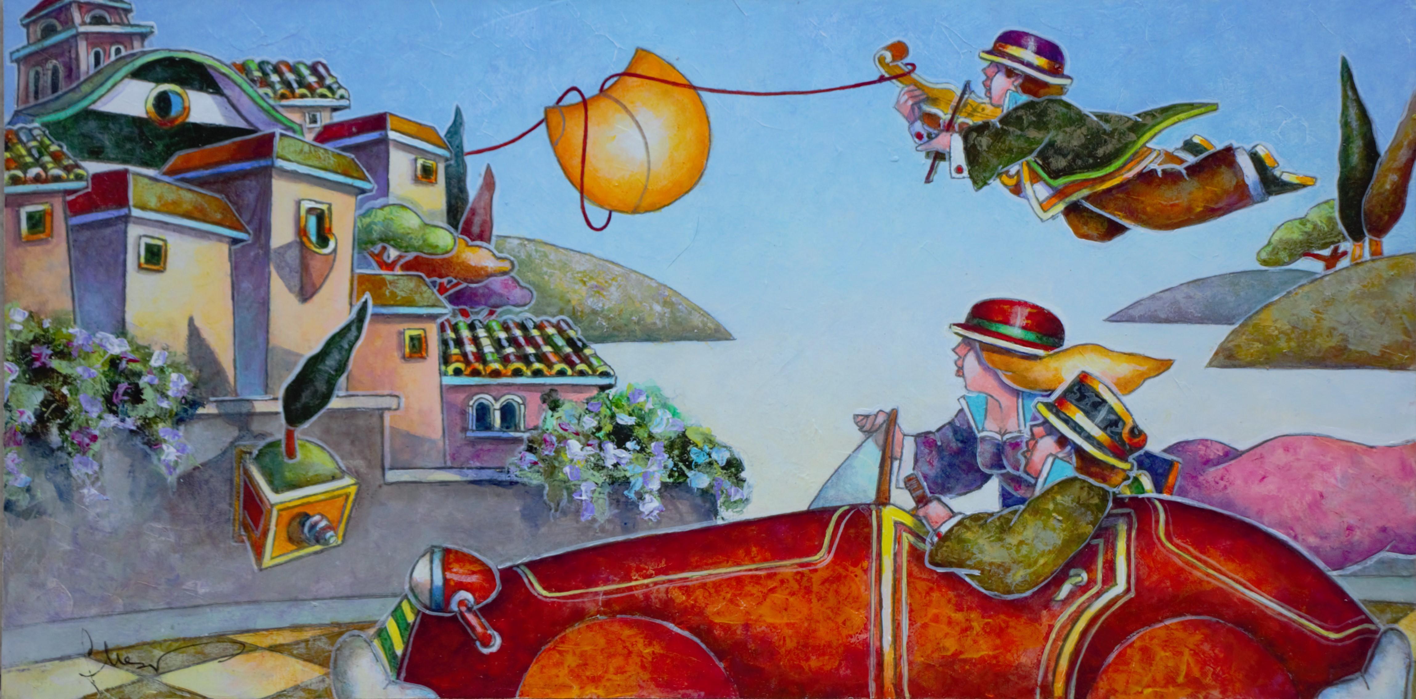 """""""Il paese incantato"""" dipinto su tavola cm. 40x20"""