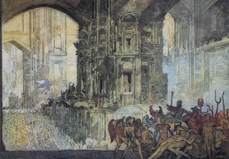 """""""Il teatro"""" litografia cm. 50x70"""