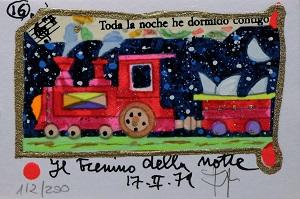 """""""Il trenino della notte"""" serigrafia polimaterica con interventi in glitter cm. 10x7"""
